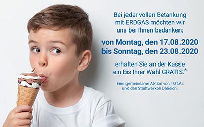 Erdgas Tanken und Gratis-Eis bekommen!