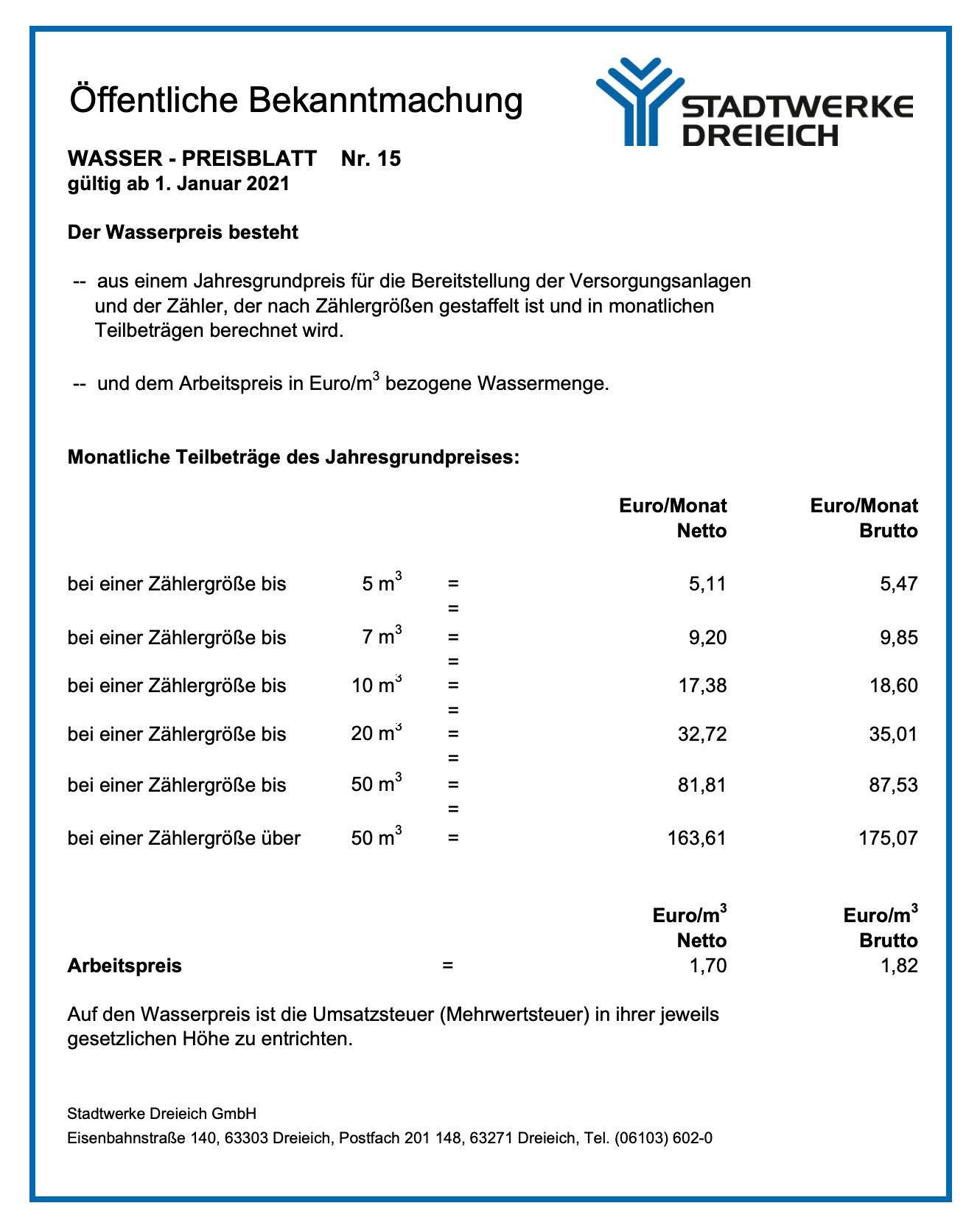 Preisblatt Wasser Nr. 15